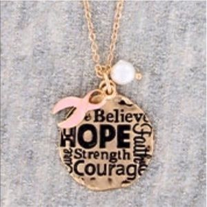 Breast Cancer Believe Courage Hope Necklace Set